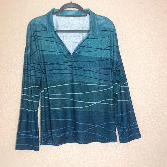 Large Multi-Blues Long Sleeve Shirt